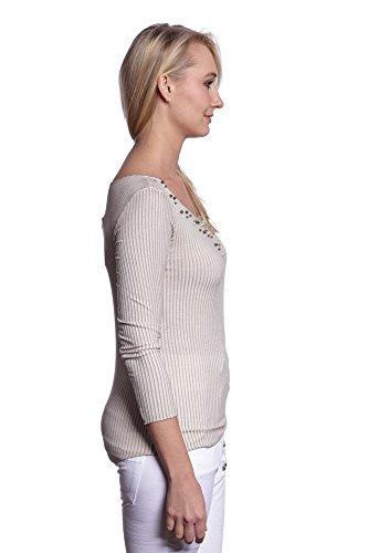 Abbino IG008 Langarm Shirts - Made in Italy - Viele Farben - Übergang Frühling Sommer Komfortabel Dynamisch Festlich Beiläufig Damenshirts Lässig Langarm Sexy Sale Elegant Klassisch Beige (Art. 7021-3B)