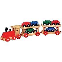 Holzeisenbahn Autoreisezug mit zwei Anhängern um die kleinen Autos zu transportieren, sechs farbige Holzautos finden auf den Anhänger Platz, insgesamt 13 Teile