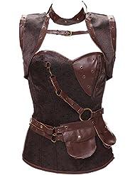 Corset de alta calidad chales vintage set acero steampunk estilo corsés vientre chaleco corsé , coffee , xxxxl