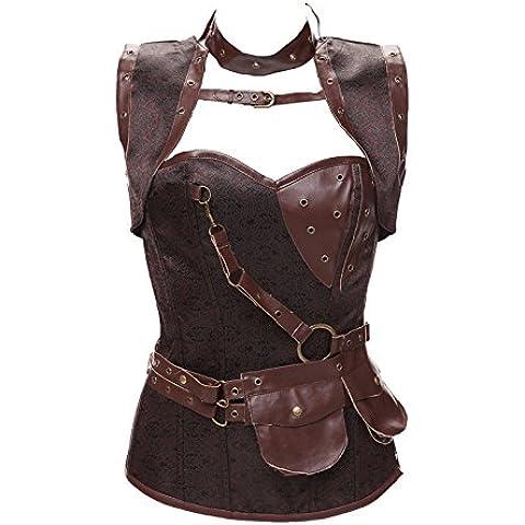 Corsetto di High-end vintage scialli imposta corsetto steampunk in acciaio stile Corsetti pancia gilet , coffee , xl