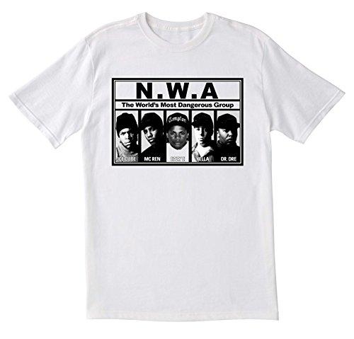 NWA-T-Shirt, Dr. DRE T-Shirt, Vintage-Stil, Design: Ice Cube T-Shirt, GPO Fraktion Exclsuive NWA Straight Outta Compton-Shirt, Herren T-Shirt Freizeit Shirt Gr. Small, Weiß - Weiß (Eazy Hat E Compton)