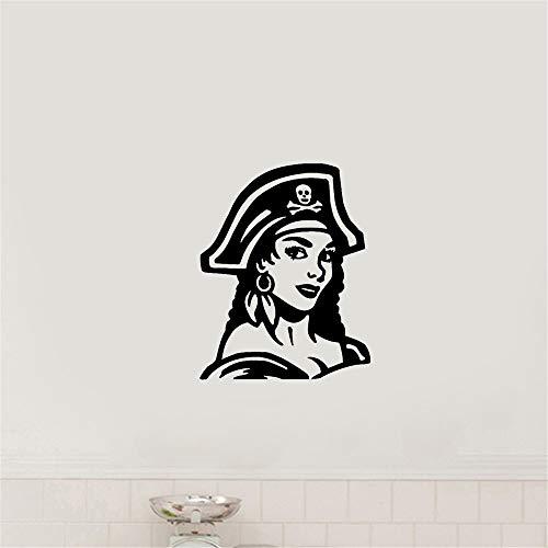wandaufkleber 3d Wandtattoo Wohnzimmer Sexy Sailor Pirate Girl im Hut