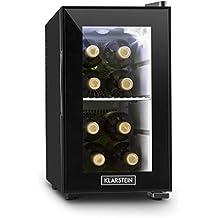 Klarstein Beerlocker S mini nevera 21 litros Clase A+ (Frigorífico pequeño, iluminación LED, ideal hotel habitación, puerta cristal doble, reducidas dimensiones, bandeja metal extraíble, color negro)
