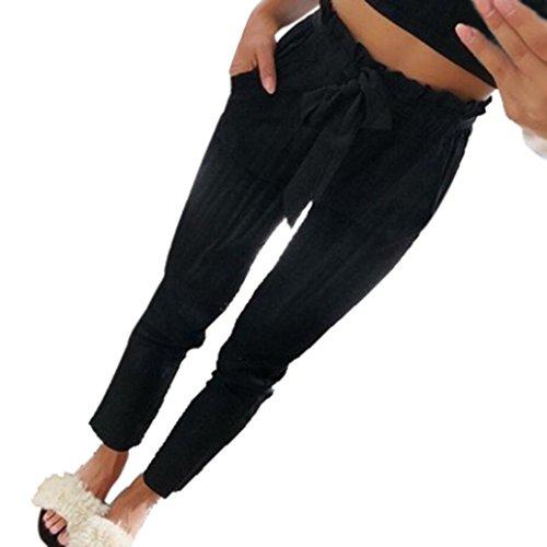 Damen Hose, Beiläufige High Waist Freizeithose Casual Lange Hose Streetwear Outdoorhose Haremshose Aladinhose Yogahose Strecken Sporthose |2 Unifarben Elegant (Schwarz,M)