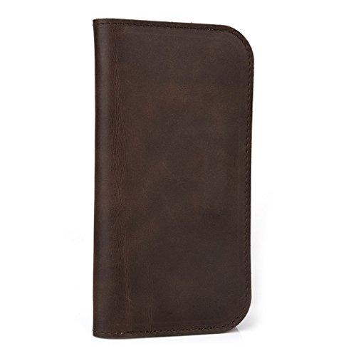 Étui portefeuille en cuir véritable pour Apple iPhone 4/4S Motif noir marron