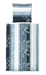 2 tlg Castell Biber Bettwäsche Garnitur Set Größen 135 x 200 cm und 155 x 220 cm Kopfkissen 80 x 80 cm, Farbe Grau, mit Reißverschluss Größe 135 x 200 cm