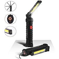 eecoo Linterna de Trabajo COB LED Lámpara Antorcha USB Recargable con 1800mAh Baterías, Base Magnética Gancho 5 Modos 800 Lúmenes, 360° Rotación Taller