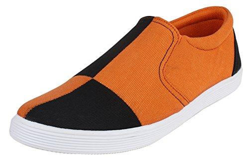 mocassin chaussures pour hommes glissent sur la conduite pantoufle chaussures en toile Noir et orange