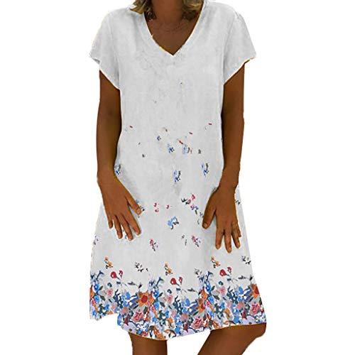 Momoxi Robe Couleur Unie Impression Hauts de Robe Vintage De Plage D'été Manche Courte en Dentelle Imprimée pour Femmes