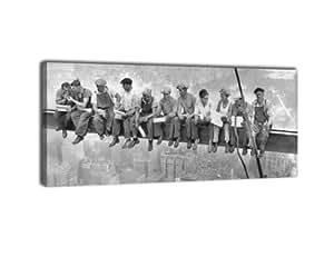 leinwandbild panorama nr 249 skylunch 100x40cm keilrahmenbild bild auf leinwand retro. Black Bedroom Furniture Sets. Home Design Ideas