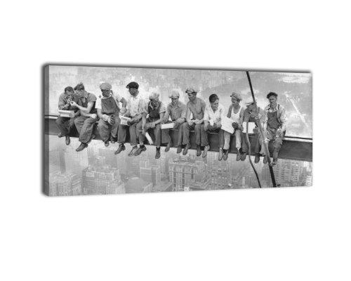 Leinwandbild Panorama Nr. 249 Skylunch 100x40cm, Keilrahmenbild, Bild auf Leinwand, Retro Foto...