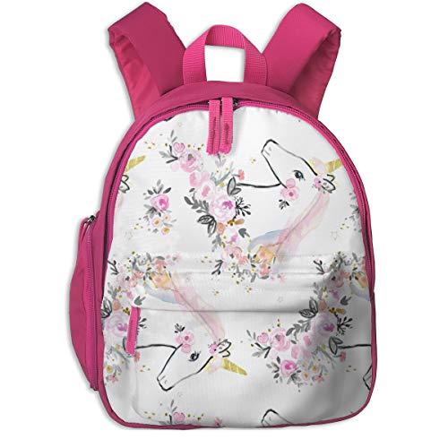 4l Crystal (Kinderrucksack mädchen,Sweet Unicorn Floral - Rotate_2924 - Crystal_walen, Für Kinderschulen Oxfordstoff (pink))