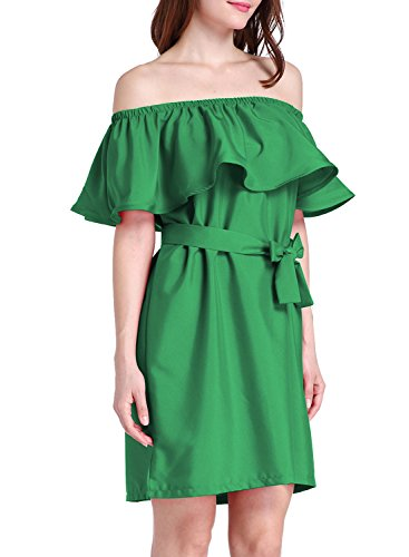 ACHICGIRL Women's off Shoulder Ruffle Dress with Belt Green