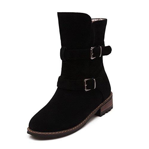 AgooLar Damen Kurz Velours Ziehen auf Rund Zehe Niedriger Absatz Gemischte Farbe Stiefel, Schwarz, 37