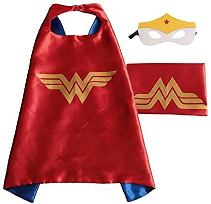 squishybean 1 Set Kinder Cape und Masken Wonder Woman Kostüme Super Hero Kleid Up Wonder Frauen Kostüme Avengers Wonder Woman Fancy Kleid