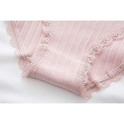 Haodou String mit Spitze Damen Unterhose Baumwolle Unterwäsche Reizvolle Wäsche durchsichtige Tanga G-Schnur Schlüpfer Damenwäsche Dessous Länge 21cm (Rosa A-M) - 2
