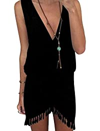 hibote Femmes Été Casual Robes sans manches Vest Dress V Col Robe de Plage Noir Blanc Gris Jaune Rouge Bleu S-XL