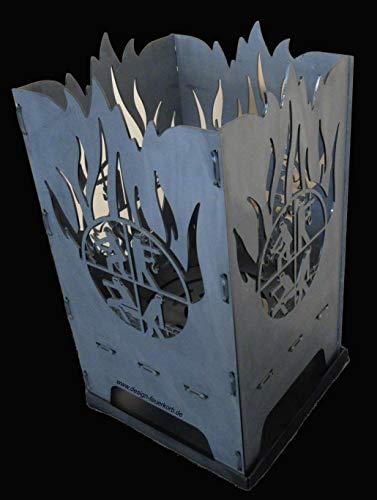 """Design Feuerkorb Feuerschale aus Stahl\""""Feuerwehr R L B S\"""" 40x40x80 cm"""