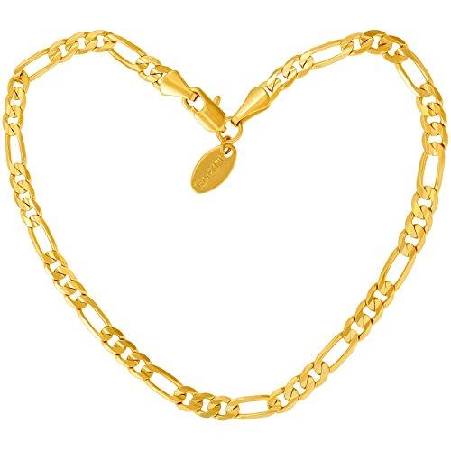 Lifetime Jewelry Gold Knöchel-Armband für Frauen, Männer & Teenager [24 Karat Echtgold überzogene 4mm Figaro Fußkettchen] - Strand und Party Fußschmuck mit lebenslanger Ersatzgarantie (25.4)