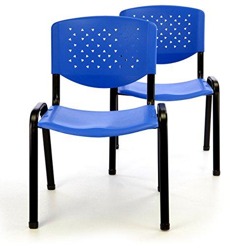 Nexos Bürostuhl 2er Set Konferenzstuhl Besucherstuhl Blau Sitzfläche stapelbar Kunststoff 53,5 x...