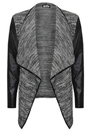 (womens grey leather sleeved waterfall cardigan (mtc) Frauen grau leater Ärmeln Wasserfall Strickjacke (40/42 (uk 12/14), (grey) grau)