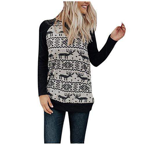 Shirt Tunika mit Weihnachtlichem Damen Weihnachtspullover Oberteil Weihnachtsspleiß-Festival-Sweatshirt-Druck-Taschen-Pullover übersteigt Bluse (Schwarz, S)