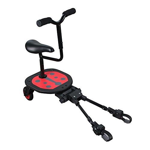 Patinete con asiento y manillar Sit N Ride, se adapta a todas las sillas, cochecitos y carritos, color rojo