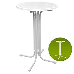 Beautissu Bellini Standing Table 110 cm High Top Bistro Bar Table Folding Round Ø 70 cm White Round Cocktail Poseur