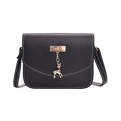 Damen Leder Umhängetasche Reh Anhänger Reißverschluss Citytasche Schultertasche Casual Crossbody Messenger Tasche (B Typ Schwarz) -