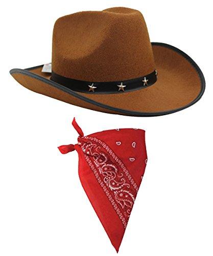 ör Set braun Cowboyhut mit Stern Nieten Band & farbige Paisley Bandana Wild West Western Sheriff Tuch Ilovefancydress® (Django Kostüm)