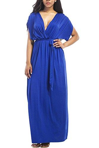 WIWIQS Frauen V-Ausschnitt Stretchy Casual Maxi Plus Size Brautjungfer Kleid, Blau, (Der 1940er Frauen Kostüme Jahre)