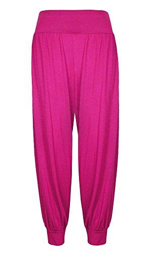Pantalon pour femmes Pleine longueur Ali Baba Pantalon Sarouel Baggy rose cerise