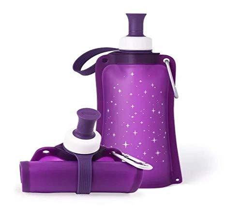 LYXQQ Bollitore Portatile in Silicone,Tazza di Acqua di Stelle Creative,Bollitore in Silicone Pieghevole,Sacca d\'Acqua Pieghevole,Bollitore per Il Fitness All\'aperto,Grande capacità 550Ml,Purple