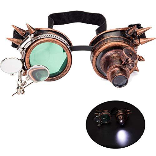 Neborn Niet Brille Männer Frauen Steampunk Vintage Runde Sonnenbrille Gothic Brille Vintage Retro Punk Sonnenbrille (Rotes Kupfer)