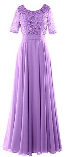 MACloth Elegant Half Sleeve Long Mother of Bride Dress Lace Formal Evening Gown Lavendel