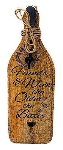 Servierbrett aus Holz und Hors d'oeuvres Messer, Weinflaschenform, Serviertablett Friends & Wine Cocktails, Hors Doeuvres