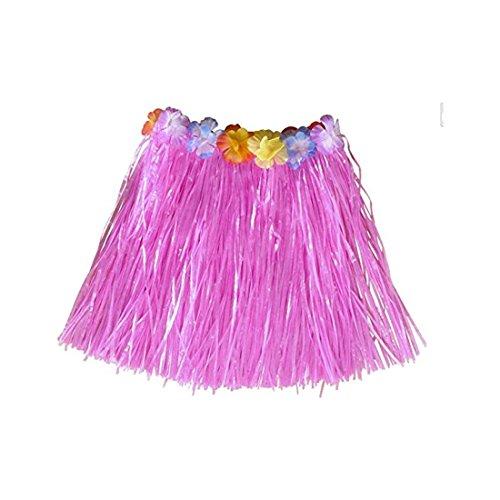 Simply Gorgeous Mädchen Hawaii- Gras- Rock-Blumen- Hula Lei Garland Kostüm - Rosa (Blume Mann Kostüm)