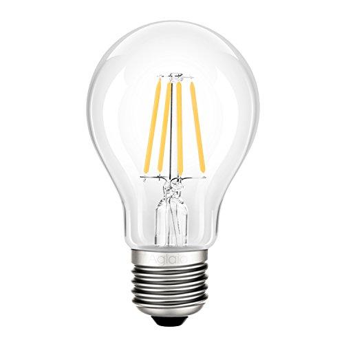 Filamento 4W LED Bombilla E27, Aglaia Equivalente Incandescente de 40W, 2700K Blanco Cálido, 400LM y Ángulo del Haz de 360°