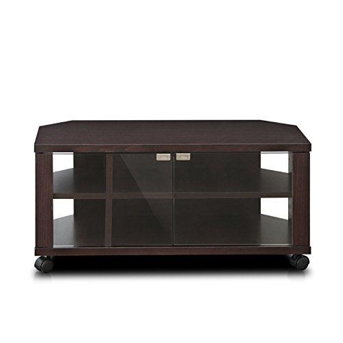 """41IHFJEiPFL - Furinno Indo fl-800ex Soporte de TV con Doble Puertas de Cristal y Ruedas, 2x 2,""""Espresso"""