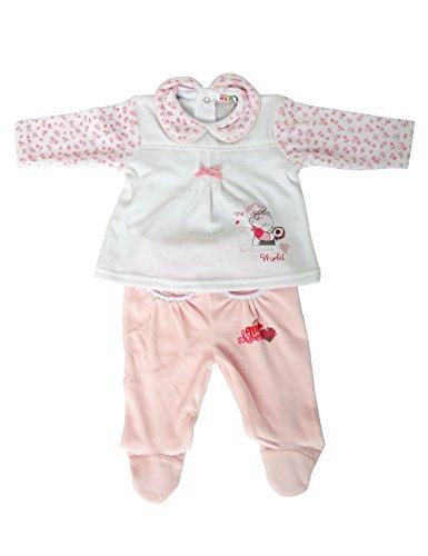 RAIKOU Mädchen Baby Schlafanzug (Zweiteiler) 2tlg. aus Nicki(56/62, Cream/Pink)