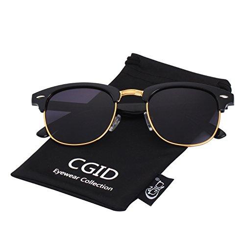 CGID MJ56 Clubmaster clubma Retro Vintage Sonnenbrille im angesagte 60er Browline-Style mit markantem Halbrahmen Sonnenbrille,Gold-Violett