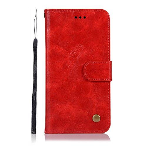 Chreey Huawei P20 Hülle, Premium Handyhülle Tasche Leder Flip Case Brieftasche Etui Schutzhülle Ledertasche, Rot