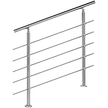 Rampe d'escalier Acier inoxydable 5 Tiges 80 cm Rambarde Main Courante Balustrade