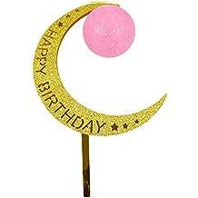 Ruiting Cake Topper Luna en forma de Luna y Bola Luminosa Decoración para pasteles y tarta