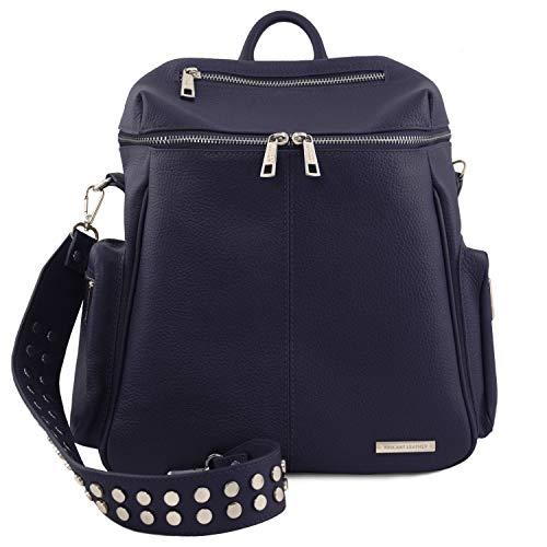 Tuscany Leather TLBag Lederrucksack für Damen aus weichem Leder Dunkelblau