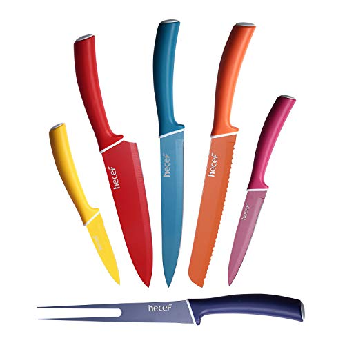 hecef Juego de Cuchillos de Colores para la Cocina - los Cuchillos Incluyen el Cuchillo de Cocina, Cuchillo de Pan, Cuchillo de Tenedor, Cuchillo de Cortar, Cuchillo de Uso General, Cuchillo de Pelar