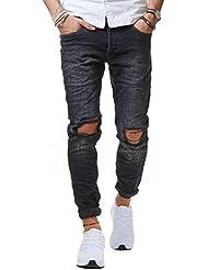 RedBridge Herren Jeans Hose Denim Slim Fit Destroyed Zerrissen Verwaschen Schwarz M4098