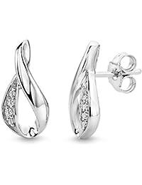 Miore Ohrstecker für Damen / Elegante Ohrringe aus 925 Sterling Silber mit 8 farblosen Zirkonia-Steinen / Ohrschmuck lang 8 x 16 mm