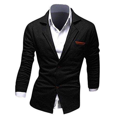 Jeansian Hommes Manteau Personality Fashion Design Couleur Unie Leisure Suit Jacket 8980 Black