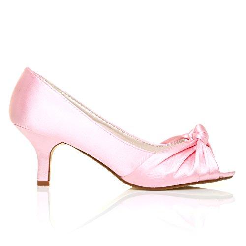 Paris Damen Schuhe Satin Peeptoe Pfennigsabsatz BABY PINK SATIN